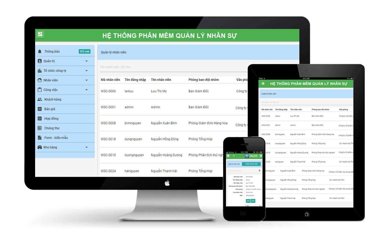 Phần mềm quản lý cơ cấu tổ chức, hành chính, nhân sự